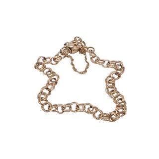 Vintage Gold Double Curb Charm Bracelet