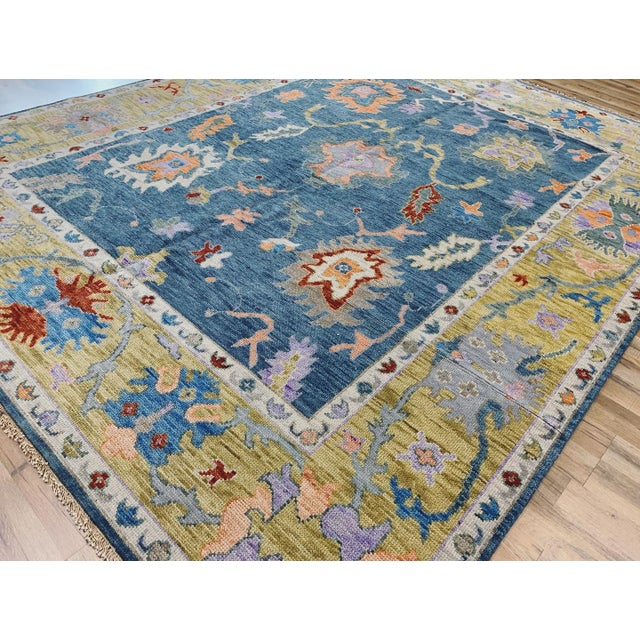 New Hand knotted rug, 100% wool with beautiful, happy colors!