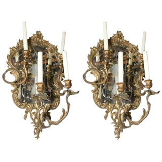 Louis XV Bronze Candle Wall Lights - A Pair For Sale