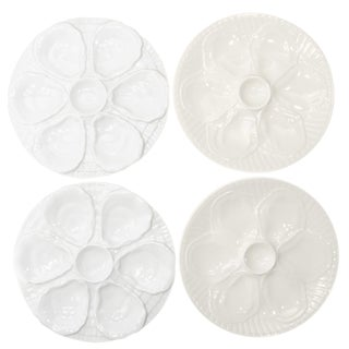 Porcelain Oyster Plates, S/4 For Sale