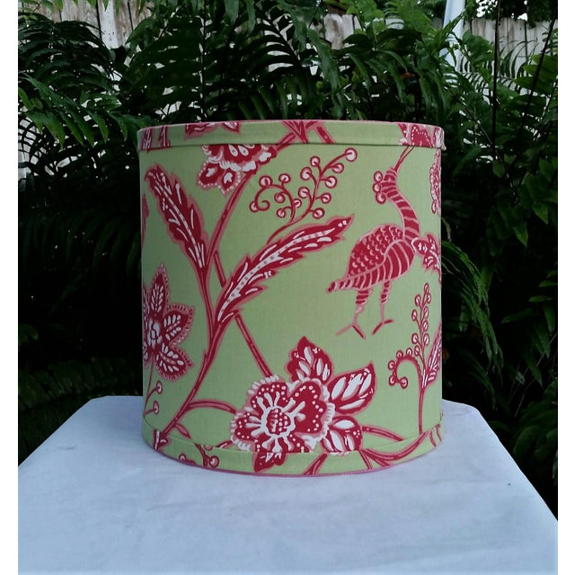 Thibaut Thibaut Fabric Lampshade Green Hot Pink Tropical For Sale - Image 4 of 10