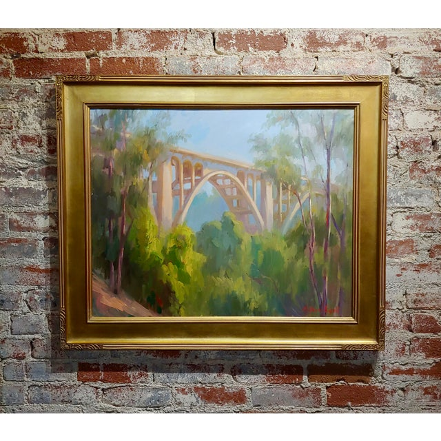 "Blue Arthur Bjorn Egeli ""Colorado Street Bridge"" Signed Oil Painting For Sale - Image 8 of 8"