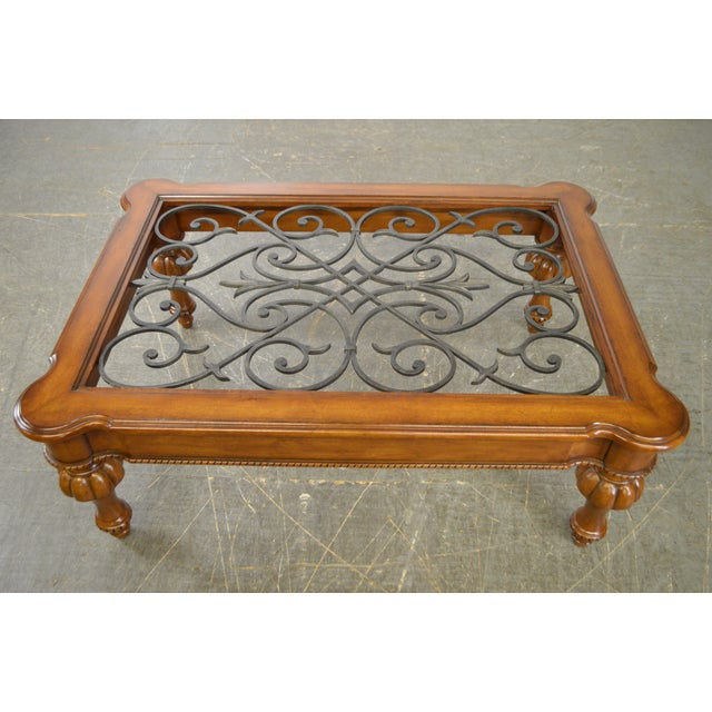 Ethan Allen French Country Style Glass & Scrolled Iron Top Coffee Table - Image 9 of 10