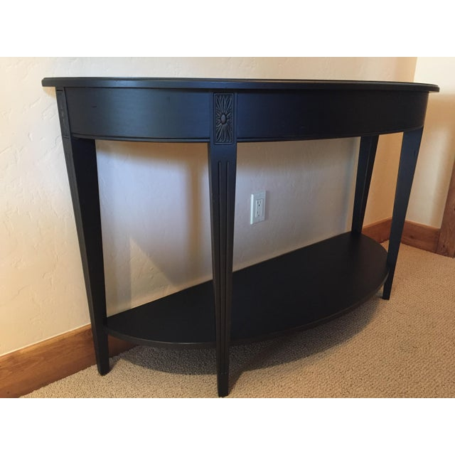 Ethan Allen Demilune Sofa Table. No scratches, excellent condition. Pet free & smoke free household. Charcoal color.