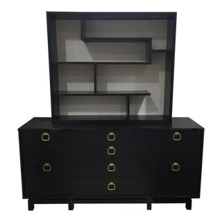 Mid Century Modern Chinoiserie Shelves and Dresser Set