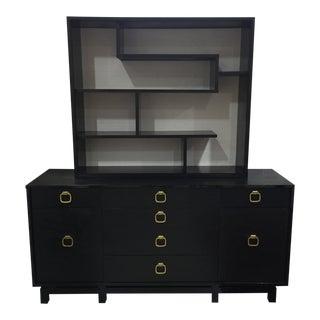 Mid Century Modern Chinoiserie Shelves and Dresser Set