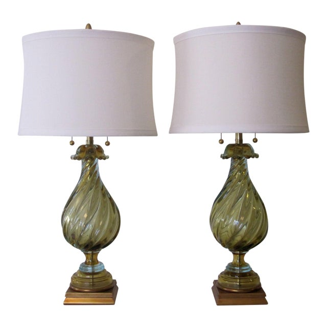 Murano Glass Lamps by Seguso for Marbro - A Pair For Sale