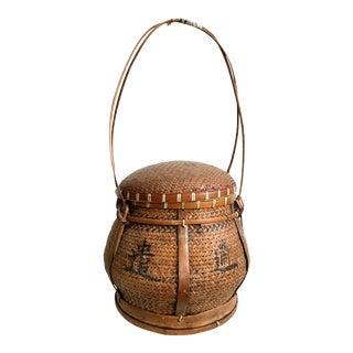 1970s Vintage Handled Japanese Basket For Sale