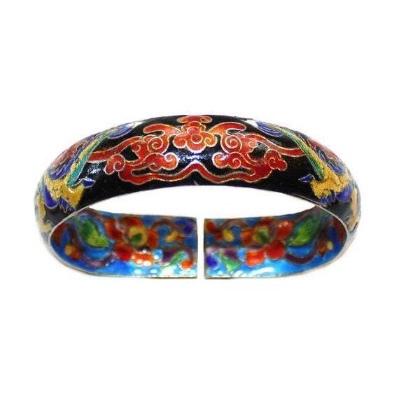 Chinese Cloisonné Enamel Dragon Bangle - Chinese Bracelet - Dragon Bracelet - Vintage Chinese Jewelry - Enameled Chinese Bracelet For Sale - Image 4 of 6