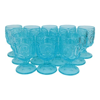 Ice Blue Moon & Stars Water Goblets, Set of 12 For Sale