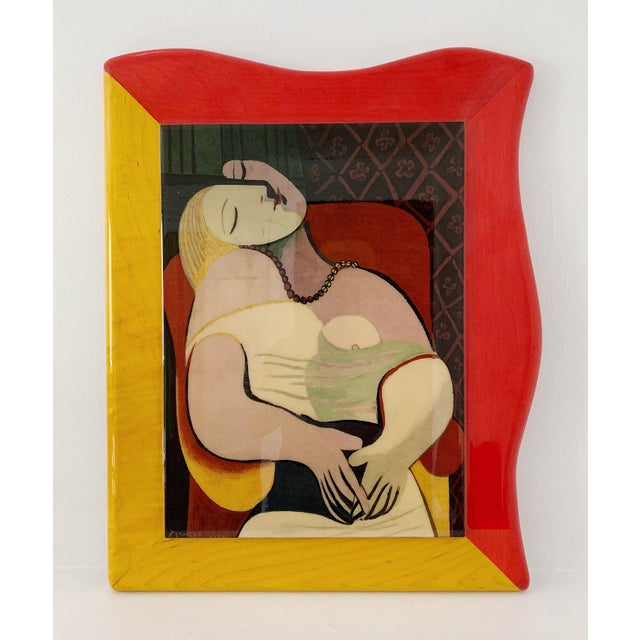 """Vintage gloss lacquer painting of Pablo Picasso """"Le Reve"""", circa 1980s in excellent condition."""