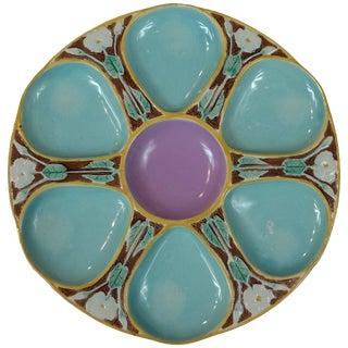 Joseph Holdcroft Majolica Robin Eggs Blue & Pink Oyster Plate For Sale