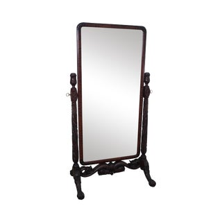 Antique Horner Carved Mahogany Cheval Mirror For Sale