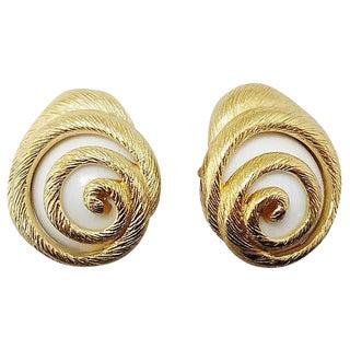 1980s Trifari White Lucite Shell Earrings For Sale