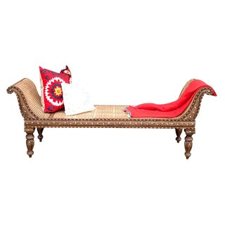 Bone Inlay Cane Chaise Lounge For Sale