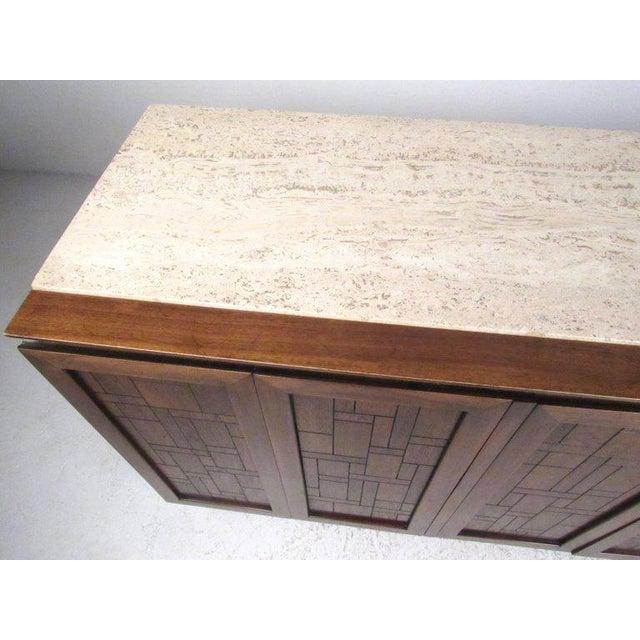 1960s Bert England for Johnson Bros Vintage Modern Travertine Top Sideboard For Sale - Image 5 of 11
