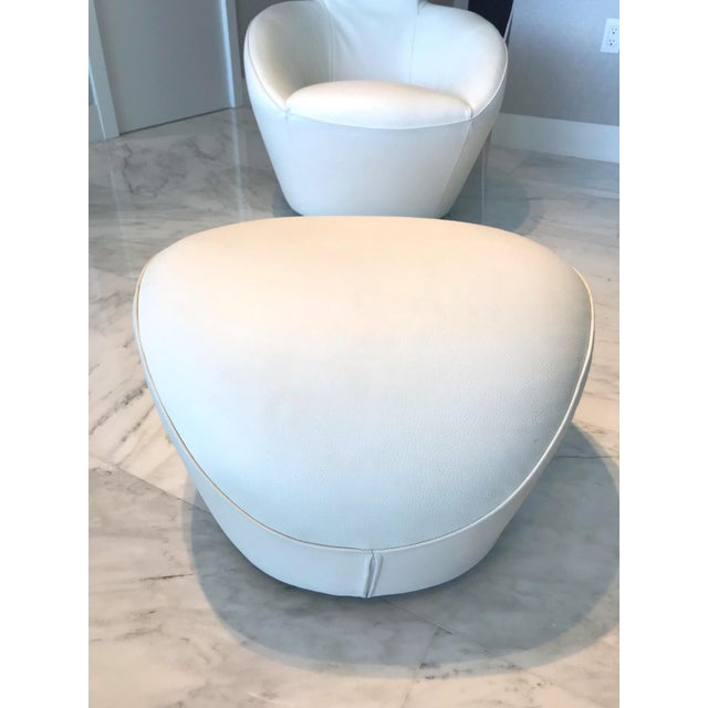 2010s Edito Modernist White Leather Ottoman by Roche Bobois For Sale - Image 5 of 11