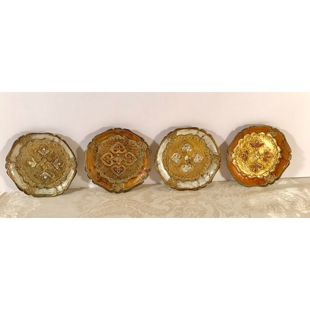 Italian Wooden Gold Florentine Coasters - Set of 4 For Sale - Image 11 of 11
