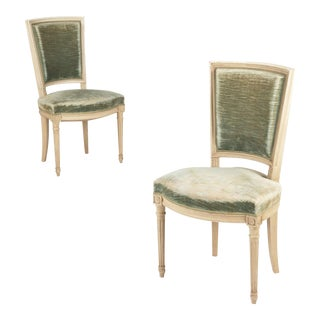 French Louis XVI Style Painted Side Chairs - A Pair