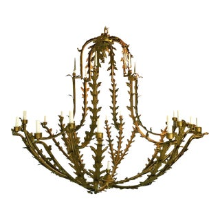 Bronzed Metal Nineteen-Light Florentine Chandelier For Sale