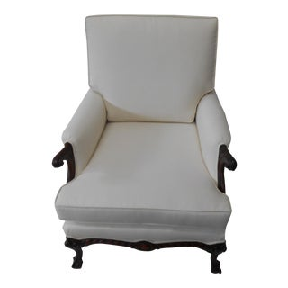 Cream Upholstered Accent Chair For Sale