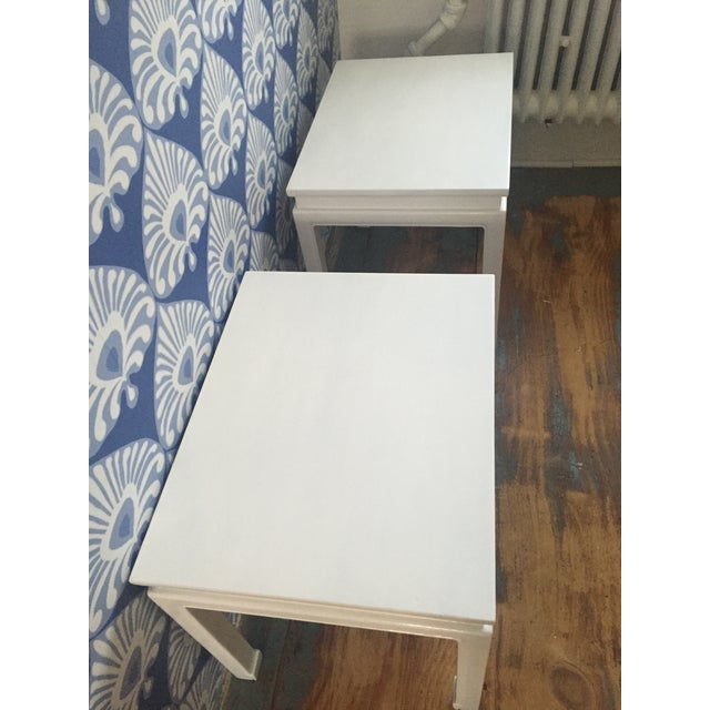 """Chinoiserie """"Ming"""" Style Pair of Side Tables For Sale - Image 4 of 6"""