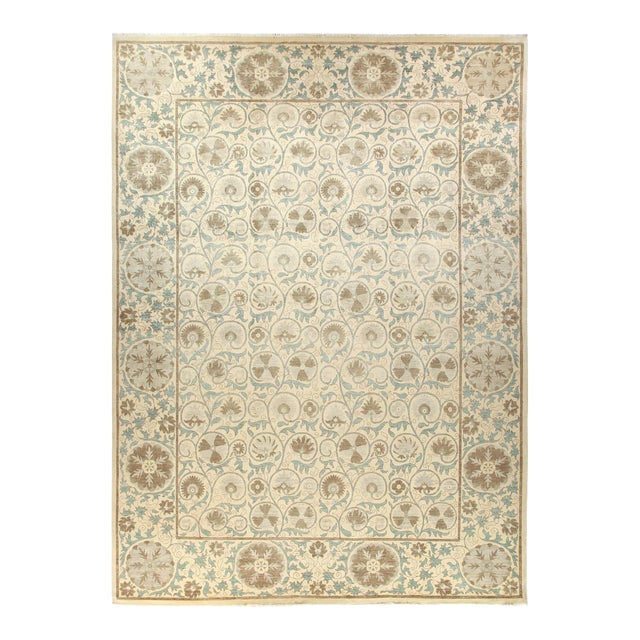 Ivory Floral Suzani Area Rug For Sale