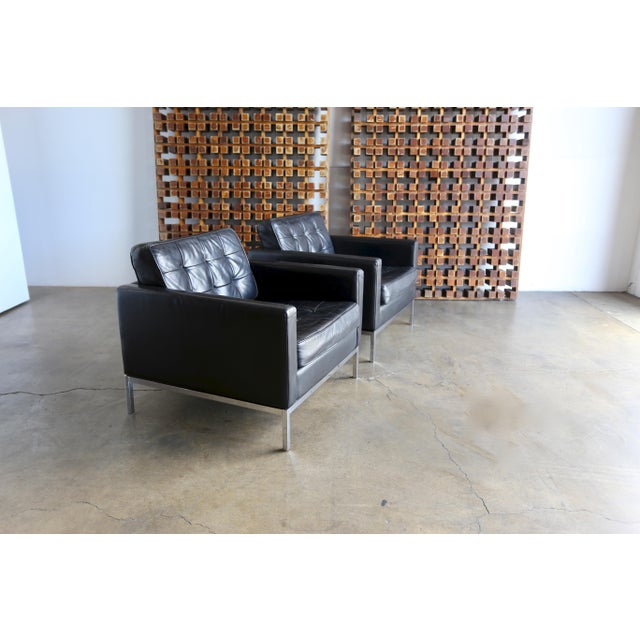 Mid Century Florence Knoll Leather Lounge Chairs - a Pair For Sale - Image 11 of 11