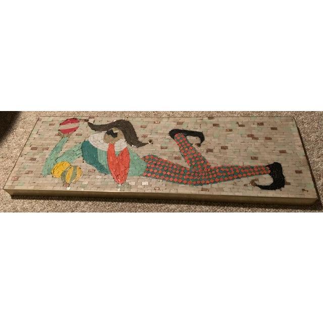 Mid-Century Modern Vintage Harlequin Jester Tile Mosaic Wall Hanging For Sale - Image 3 of 12