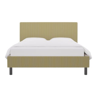 Queen Tailored Platform Bed in Gold Ticking Stripe For Sale