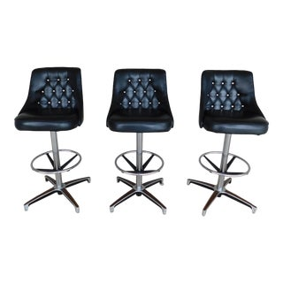Vintage ChromCraft Eames Style Diamond Tufted Back Bar Stools - Set of 3 For Sale
