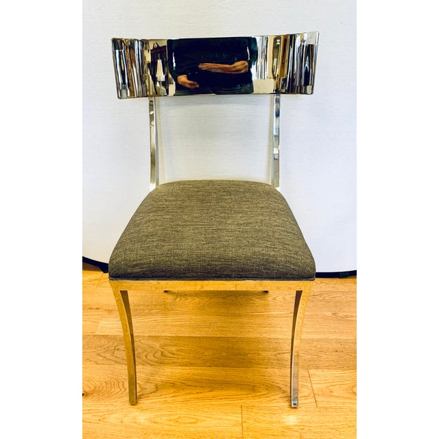 Neoclassical Chrome Klismos Dining Chairs - Set of 6 For Sale - Image 3 of 11