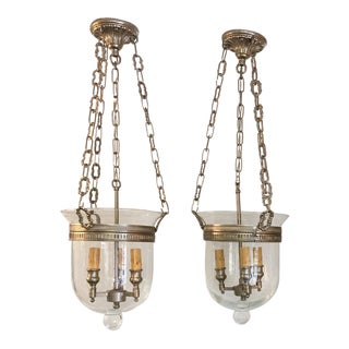 Nickel Cloche Pendant Lights - a Pair