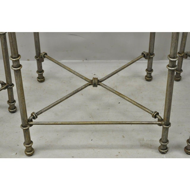 Late 20th C Pier 1 Medici Pewter Wrought Iron Counter Bar Stools - Set of 3 For Sale - Image 9 of 11