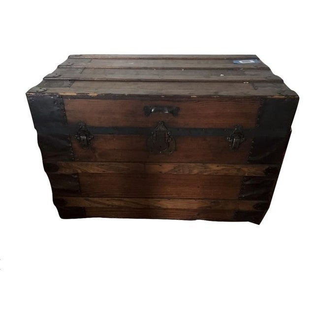 Antique Carved & Slatted Wood Steamer Trunk - Image 1 of 4