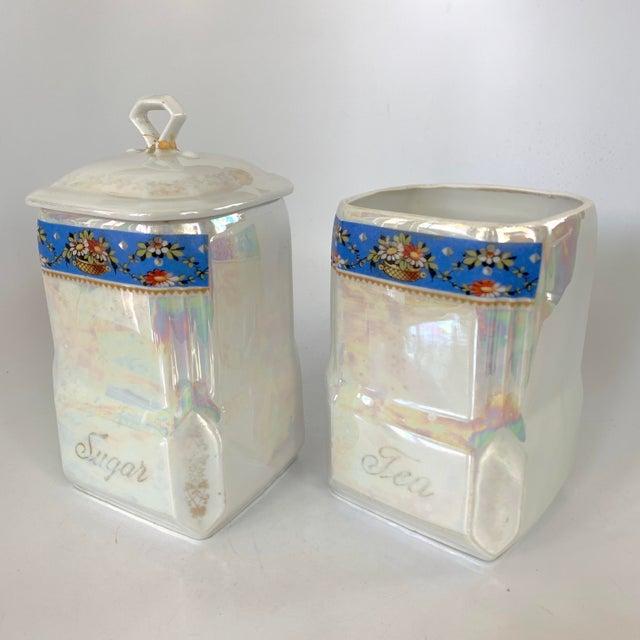 Art Deco Art Nouveau Victoria Czech Slovakia Luster Ware Canisters Jars Iridescent Set For Sale - Image 3 of 13