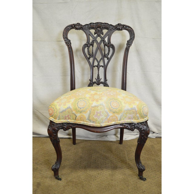 STORE ITEM #: 15913-ax Antique Victorian Renaissance Carved Mahogany Slipper  Chair (annex - Antique Victorian Renaissance Carved Mahogany Slipper Chair Chairish