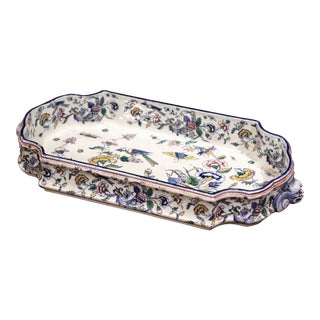 Mid-19th Century French Hand Painted Faience Jardinière Attributed to Gien For Sale