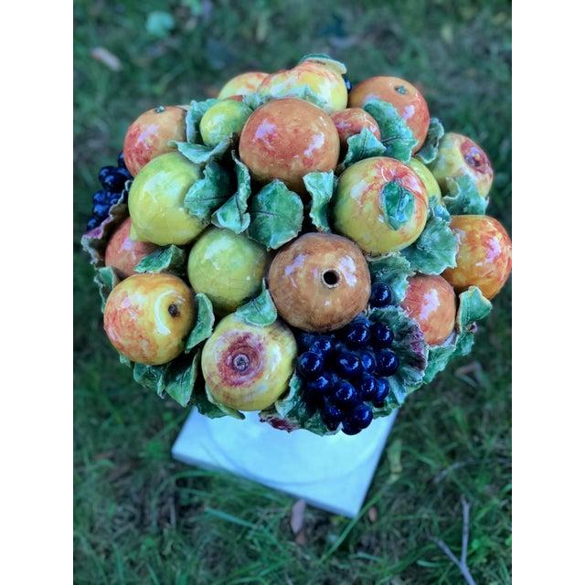 1960s Italian Majolica Ceramic Fruit Basket Centerpiece For Sale - Image 5 of 11