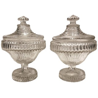Pair of Late 18th Century Anglo-Irish Cut-Glass Sweet Meat Compotes For Sale