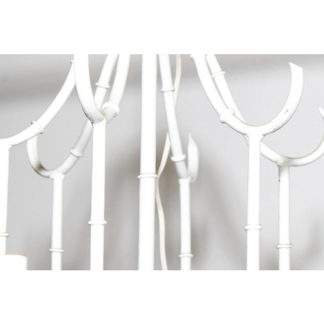 White Vintage Faux Bamboo Chandelier For Sale - Image 4 of 5