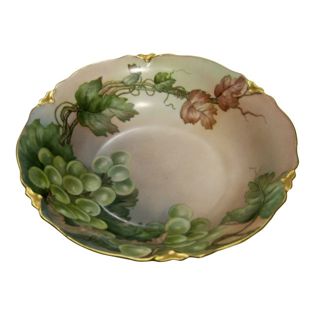 Antique Bavarian Lush Grape Bowl For Sale
