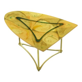 Demi-Ellipse Abstract Cast Resin & Brass Cocktail Table For Sale