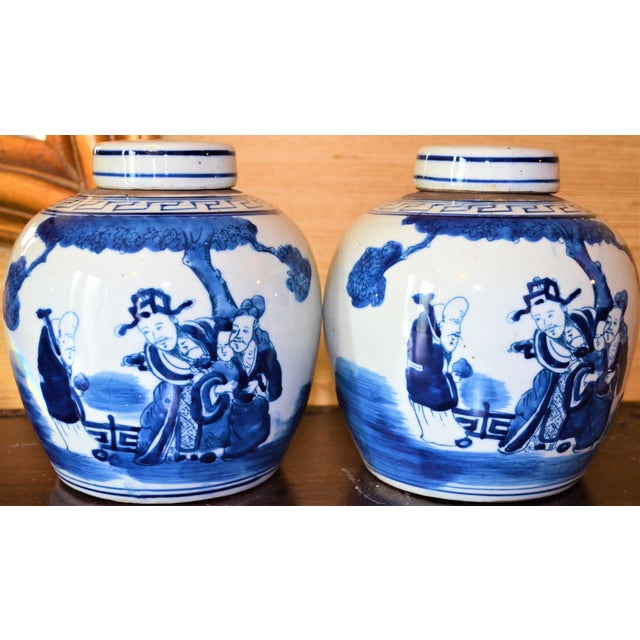 2000s Chinoiserie Ginger Jars With Deities - A Pair For Sale - Image 5 of 10