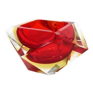 Vintage Red and Yellow Faceted Sommerso Ashtray For Sale