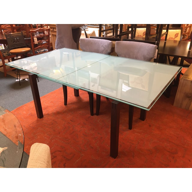 Calligaris Sandblasted Glass Extension Table - Image 6 of 9