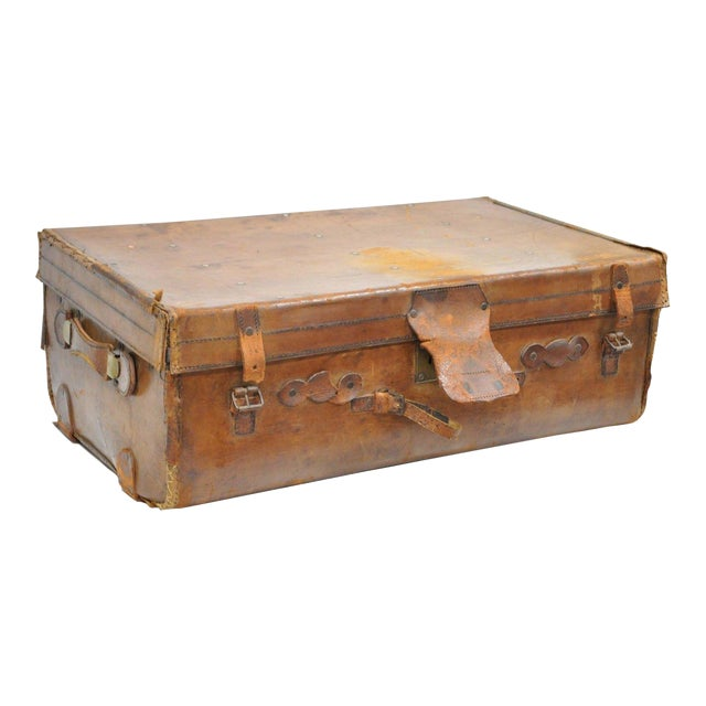 Antique 11.5 X 33 X 20 Large Brown English Leather Hard Luggage Suitcase Trunk For Sale