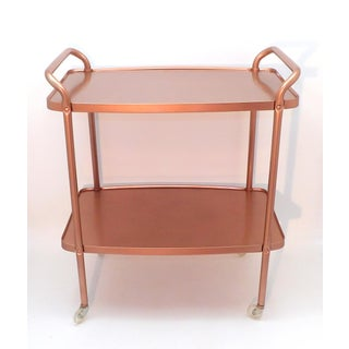 Mid-Century Modern Rose Gold Rolling Bar Cart Preview