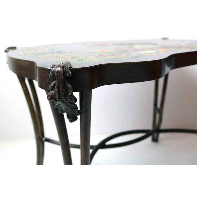1960s Philip and Kelvin LaVerne Pompadour Occasional Table in Patinated Bronze For Sale - Image 5 of 9