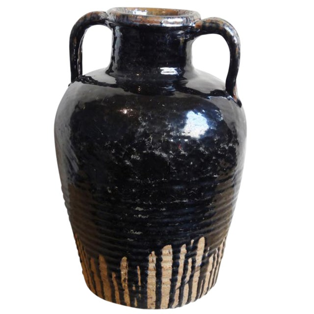 Distressed Black Ceramic Wine Jug For Sale